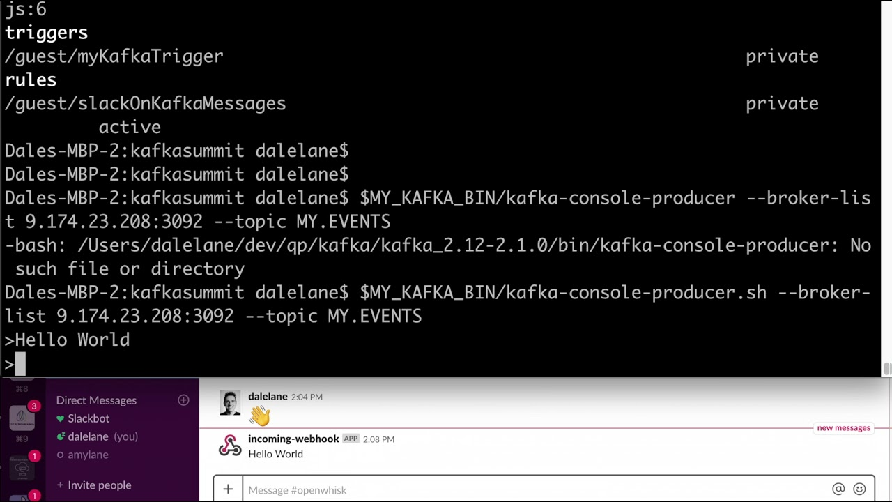 Getting started with OpenWhisk and Kafka « dale lane