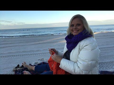 Yarn on the beach 001 with Kristin Omdahl Knitting and Crocheting at Beach Sunrise