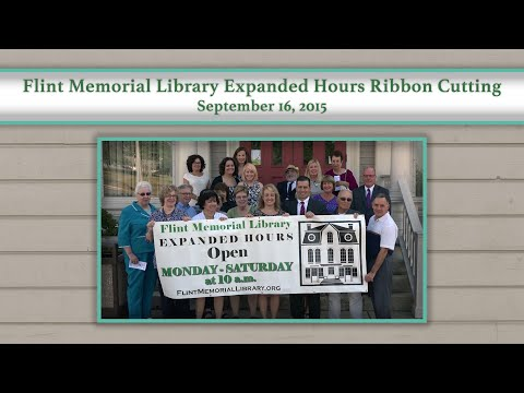 Flint Memorial Library Expanded Hours Ribbon Cutting 9/16/15