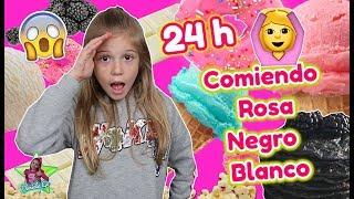 24 HORAS COMIENDO COMIDA ROSA NEGRA BLANCA! PASO UN DÍA ENTERO COMIENDO POR COLORES Y ME ENCANTA