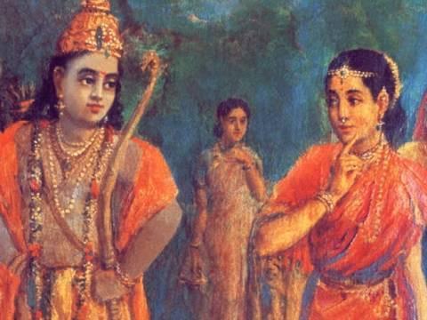 Rama meets Sita by Raja Ravi Varma Painting