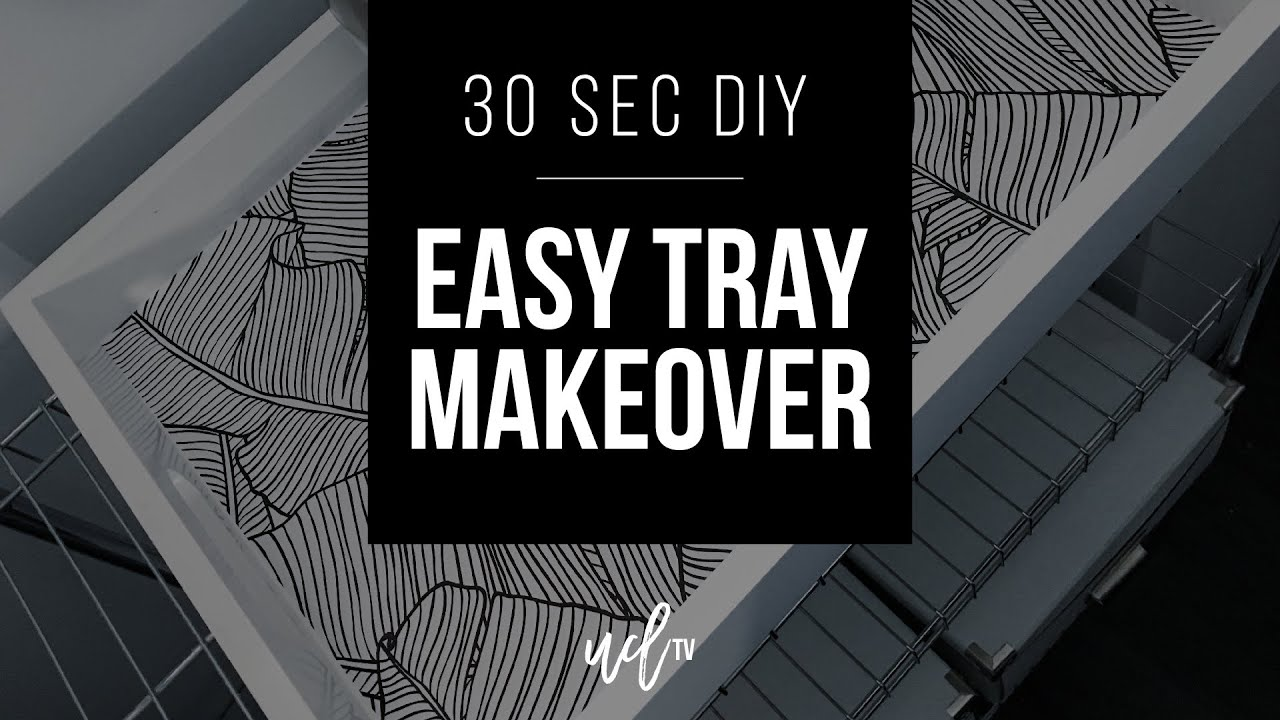 30 Second DIY Easy Tray Makeover With Wallpaper
