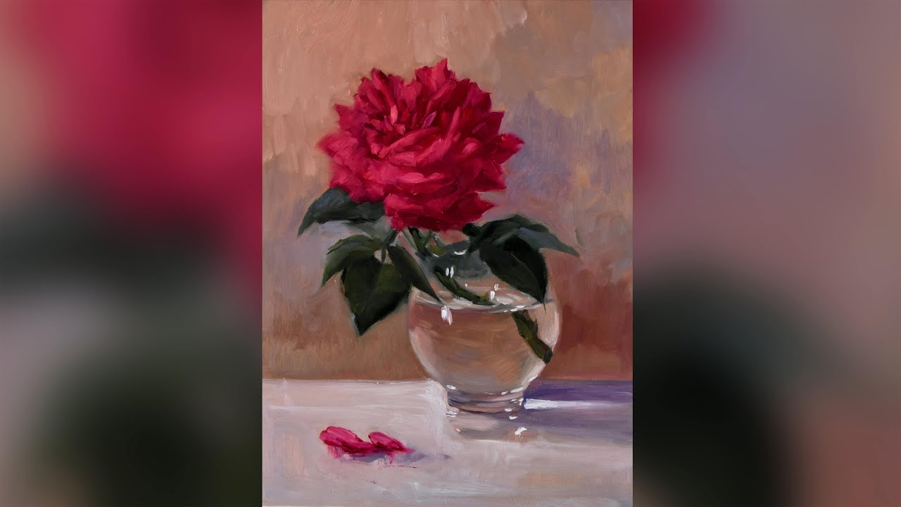 The First Rose - Oil painting Alla Prima - Kristina Guelazonia