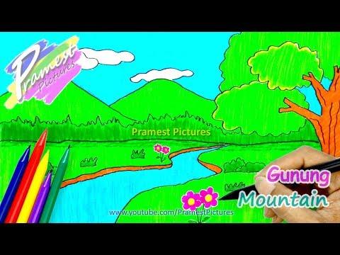 Gunung Cara Menggambar Dan Mewarnai Gambar Pemandangan Alam Untuk