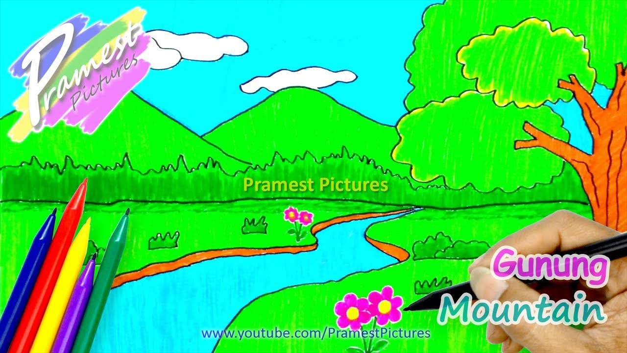 Gambar Rumah Sederhana Kartun How To Draw Mountains Landscape Coloring Pages For Kids
