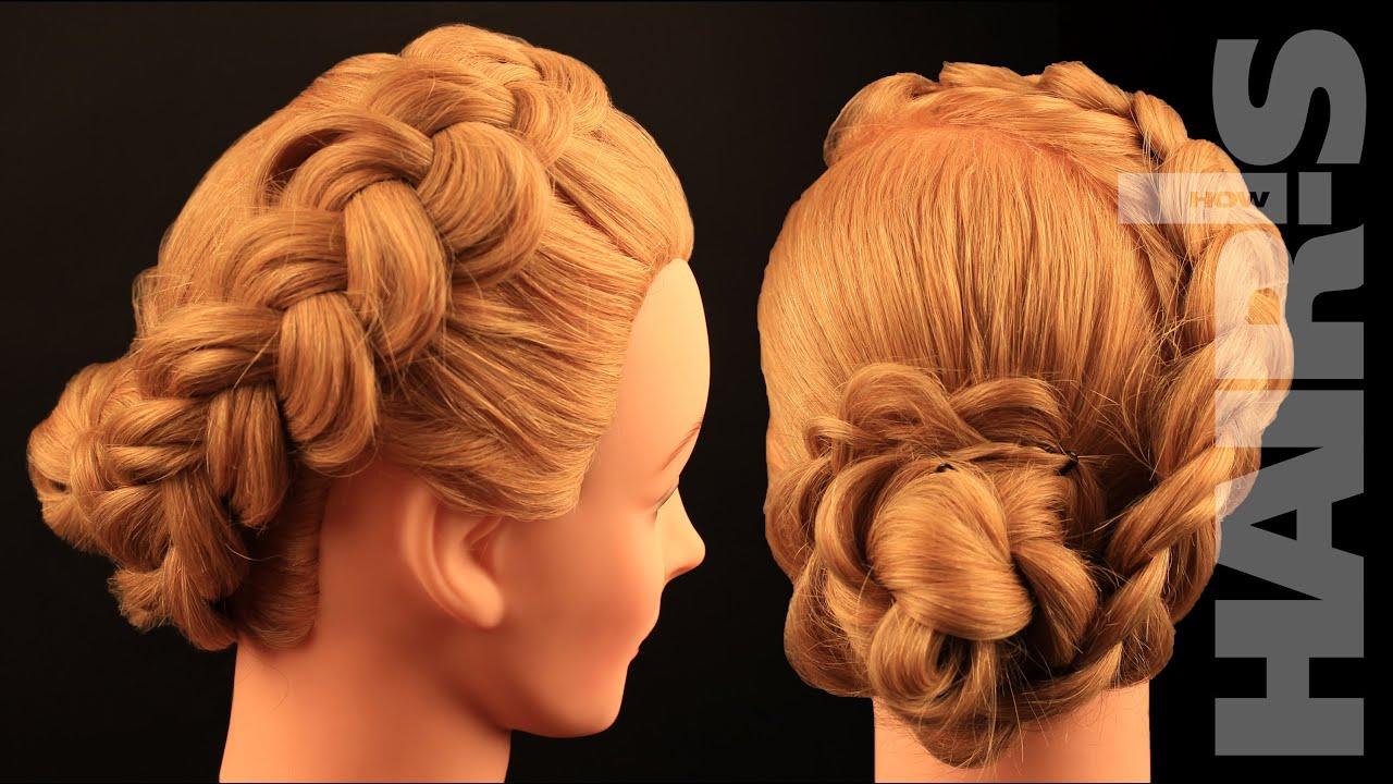 How To Do A Dutch Braid With Braided Hair Rose Chignon Hairstyle  Video  Tutorial Hair's How
