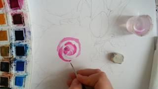 sulu boya çiçek çalışması / How to draw watercolour flower?