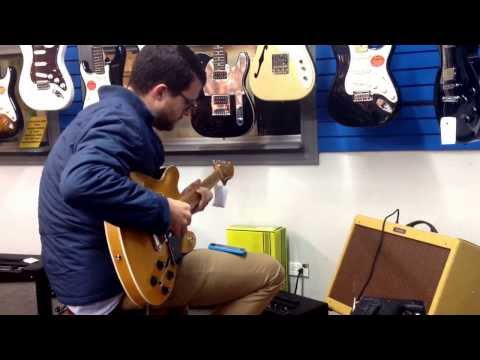 Nate Pfeil, customer at Alamo Music Center in San Antonio, TX. Jamming on the new Fender Starcaster.