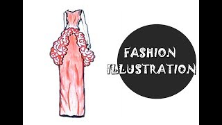 Fashion Illustration -Desain  Dress dinner rose motif