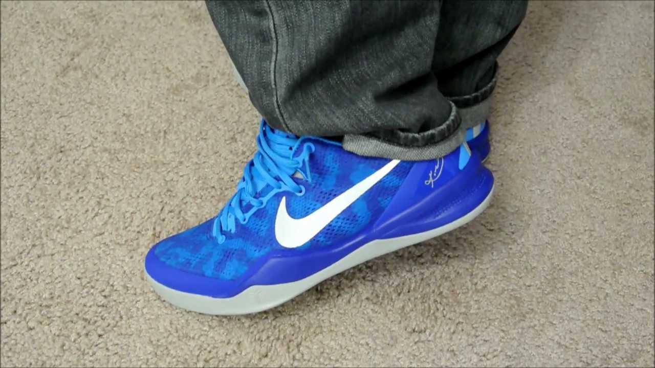 best loved 2b4f0 e4fcd Nike Kobe 8 SYSTEM  Blue Lights  On Foot - YouTube