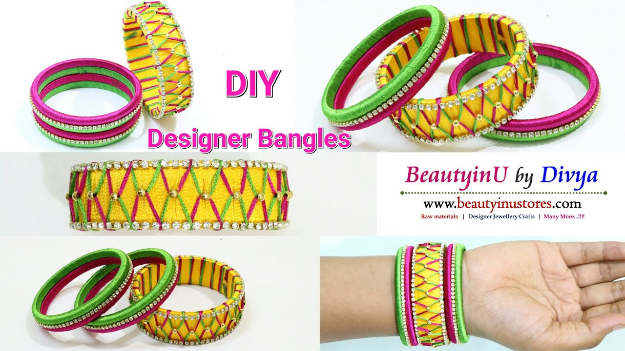How To Make Designer Silk Thread Bangles At Home Designer Bangle Tutorial Silk Thread