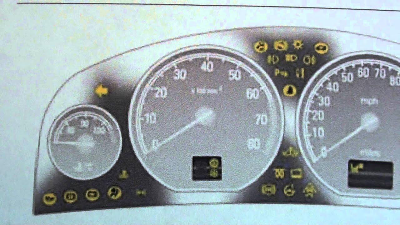 Vauxhall Vectra C Dashboard Warning Lights & Symbols - YouTube