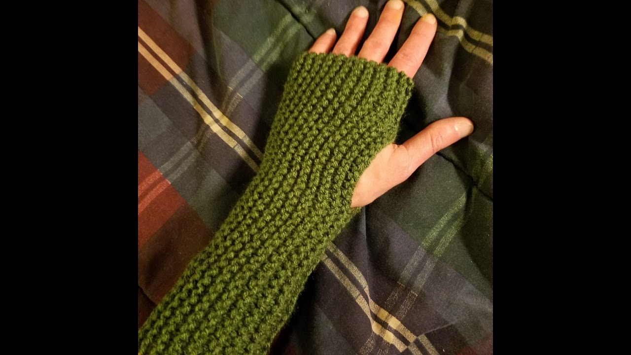 easy knit fingerless gloves tutorial youtube