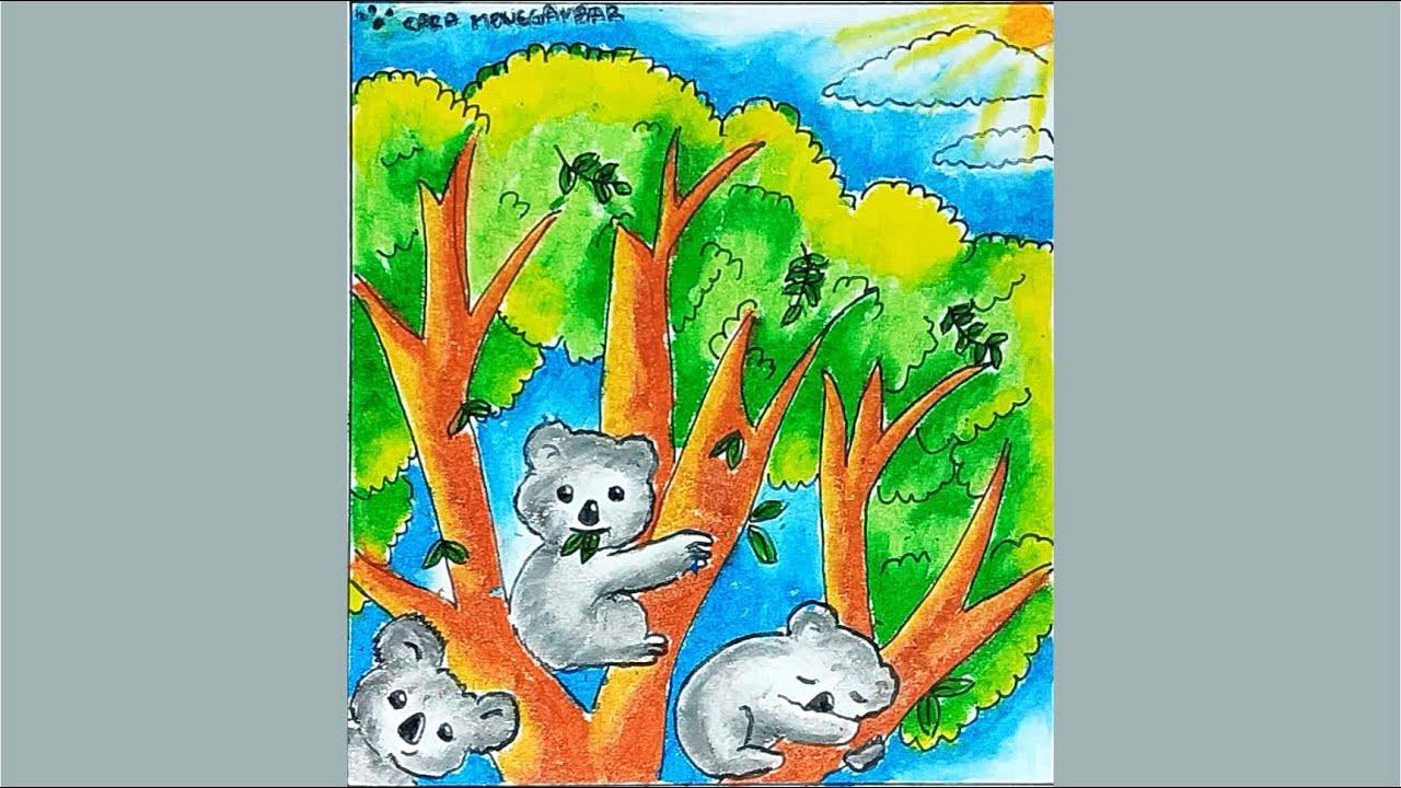 Cara Menggambar Dan Mewarnai Binatang KOALA Dengan Gradasi Warna Crayon Oil Pastel