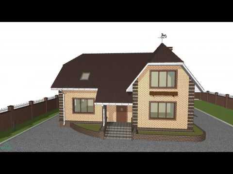 Проект типовой дома с мансардой и гаражом  C-069-ТП