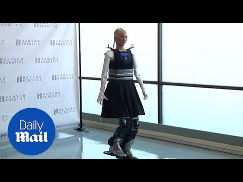 Steps for Sophia as humanoid robot can now move around - Daily Mail