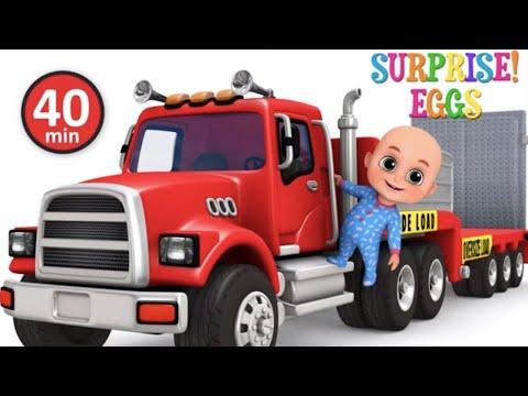 Car Loader Trucks | Cars toys videos, police chase, fire truck - Surprise eggs - Jugnu Kids