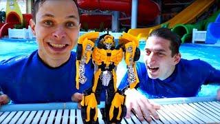 Школа героев Акватим в аквапарке - Бамблби и смешные видео для детей.