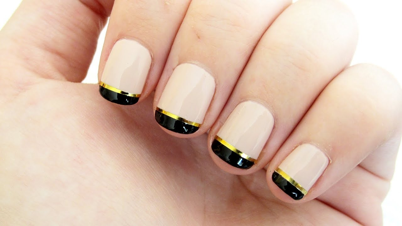 Nude, Gold and Black French Manicure - YouTube