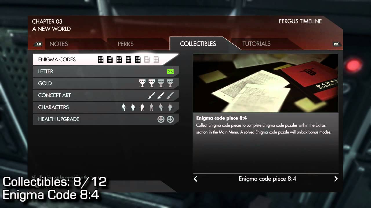Wolfenstein The New Order 100 Collectibles Guide Enigma Codes Gold Letters Xboxachievements Com