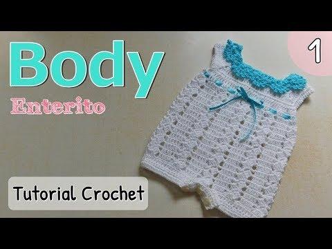 Patrón: body, enterito, pelele a crochet ganchillo para bebe (1/2 ...