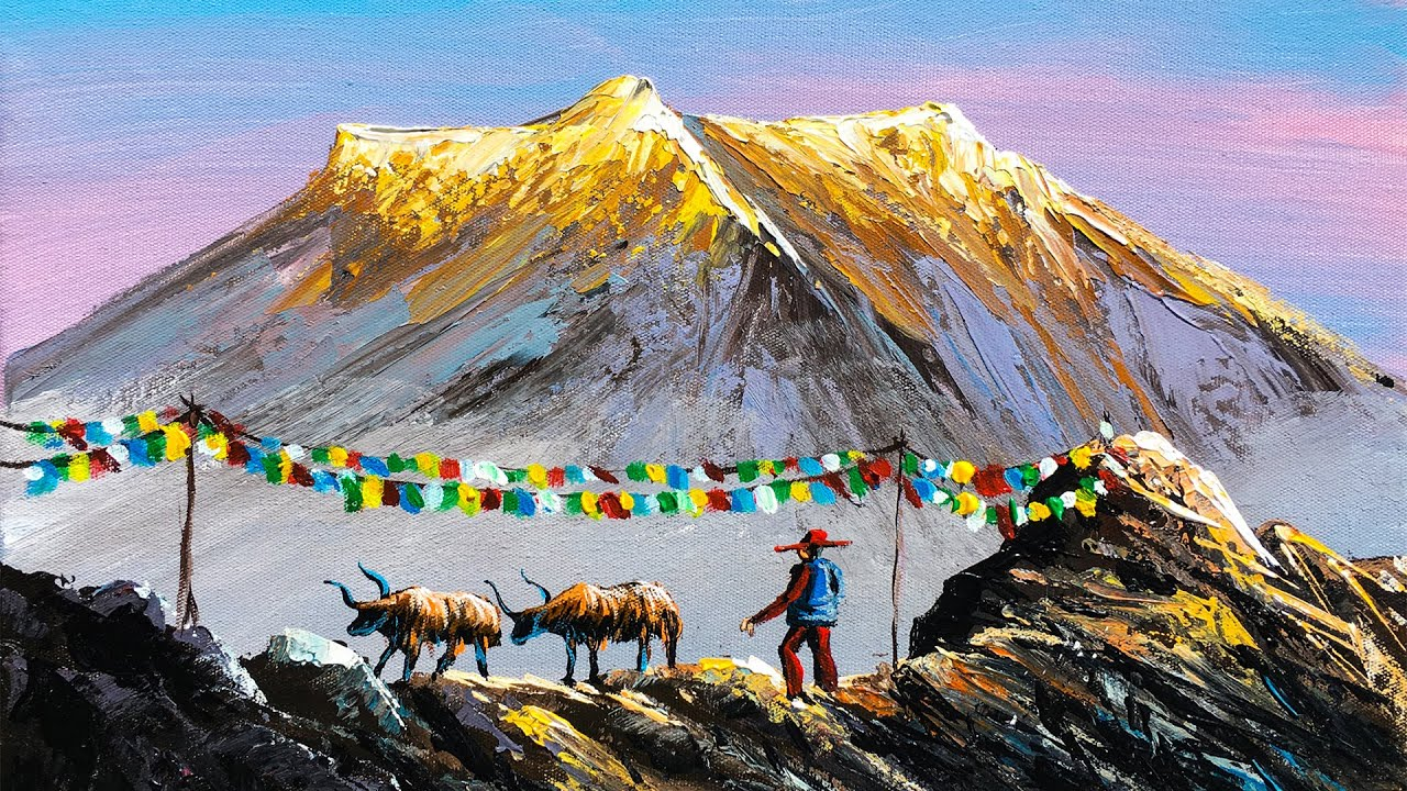 Nepali Painting   Painting a Beautiful Mountain Landscape with Acrylics   Art Candy Nepal