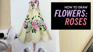 HOW TO DRAW ROSES | Fashion Drawing