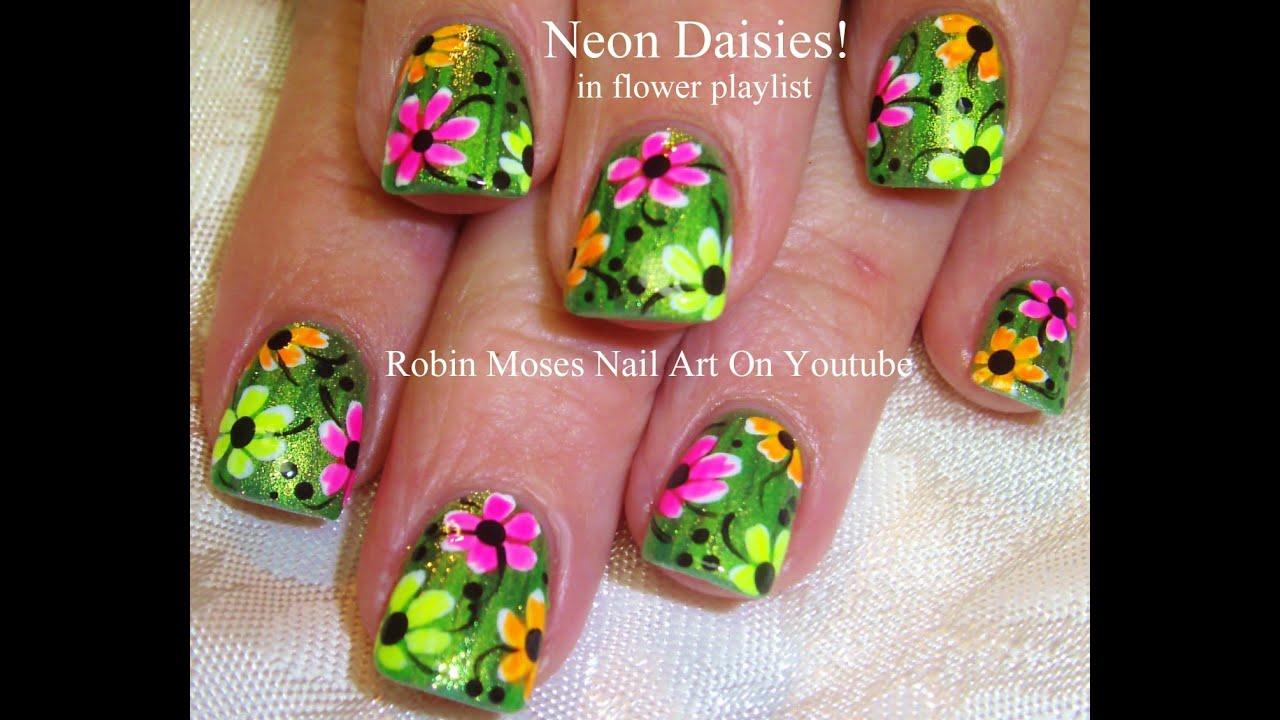 Neon Rainbow Daisy Nail Art Design on glitter for ...