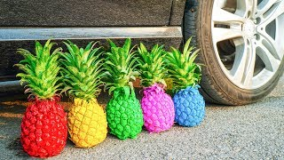 Experiment Car vs Rainbow PineApple and more | Crushing Crunchy & Soft Things by Car | Crunchy Car