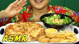 ASMR • Seafood Pizza & Caesar Salad • Eating Sounds • Light Whispers • Nana Eats