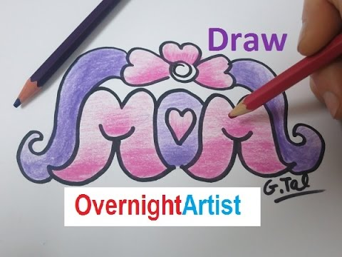 Draw Mom How To Draw Mom Heart Flower Ribbon Youtube