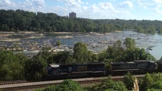 CSX coal train along James River in Richmond, VA by Belle I