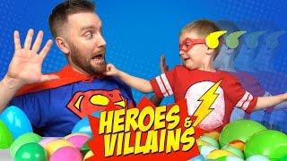 HEROES & VILLAINS Superhero Surprise Eggs Challenge IRL #7 with Batman Toys & Justice League Toys
