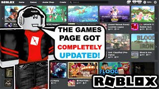 Roblox Is Updating Tнe Websites Games Page!?