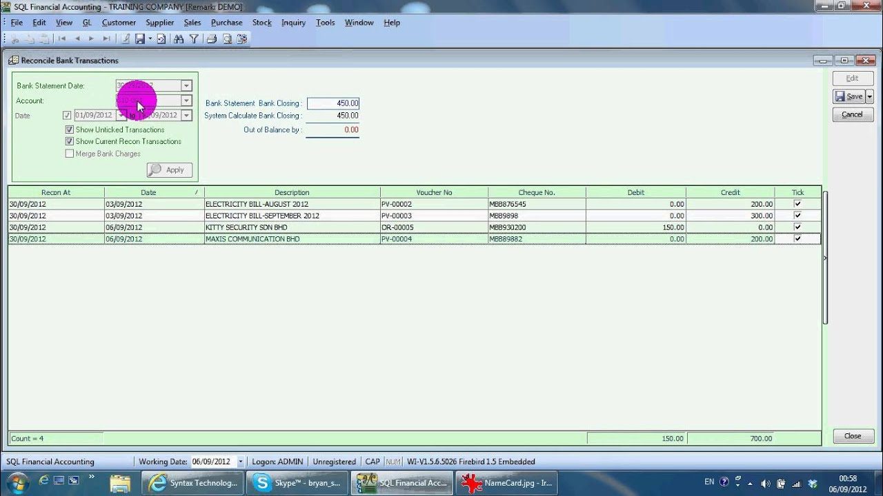 a029 bank reconciliation - sql accounting software