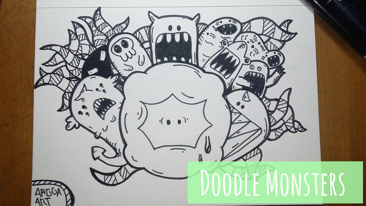 Line Drawing Monster : Doodle time monsters youtube
