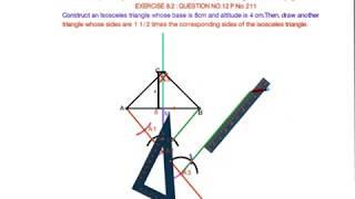 4 het Bouwen van een Gelijkbenige driehoek, waarvan de basis is 8 cm en de hoogte is 4 cm