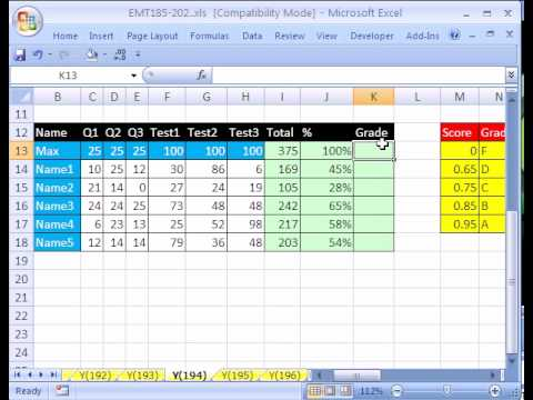 Excel Magic Trick 194 Grade Book Based On Percentages Youtube