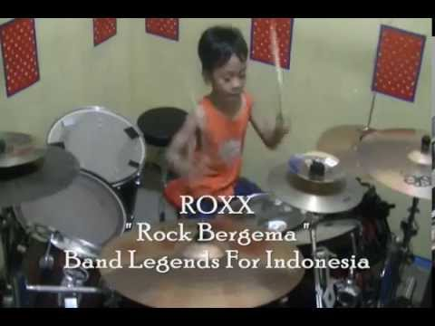 Drum Cover '' ROXX  Rock Bergema '' Drummer Cilik Ariel 6year