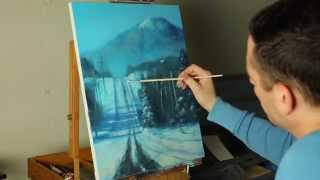 The Road Home - A timelapse acrylic winter landscape painting by Tim Gagnon