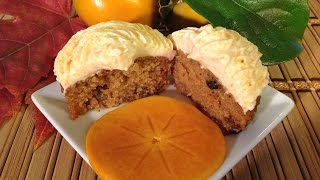 How To Bake Persimmon Spice Cupcakes-Food Recipes-Cream Cheese Frosting