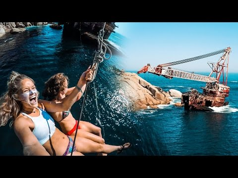 Insane Shipwreck Rope Swing! 70ft