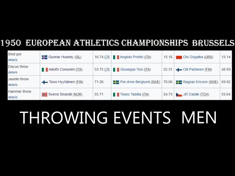 1950 THROWING EVENTS MEN European Athletics Championships Brussels.