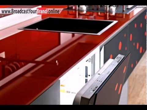 Rote Glas Arbeitsplatte Valcucine Italien Moderne Küche