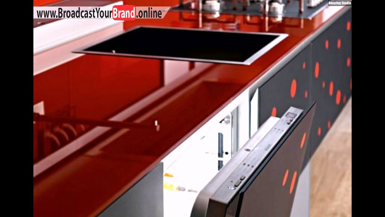 rote glas arbeitsplatte valcucine italien moderne k che youtube. Black Bedroom Furniture Sets. Home Design Ideas