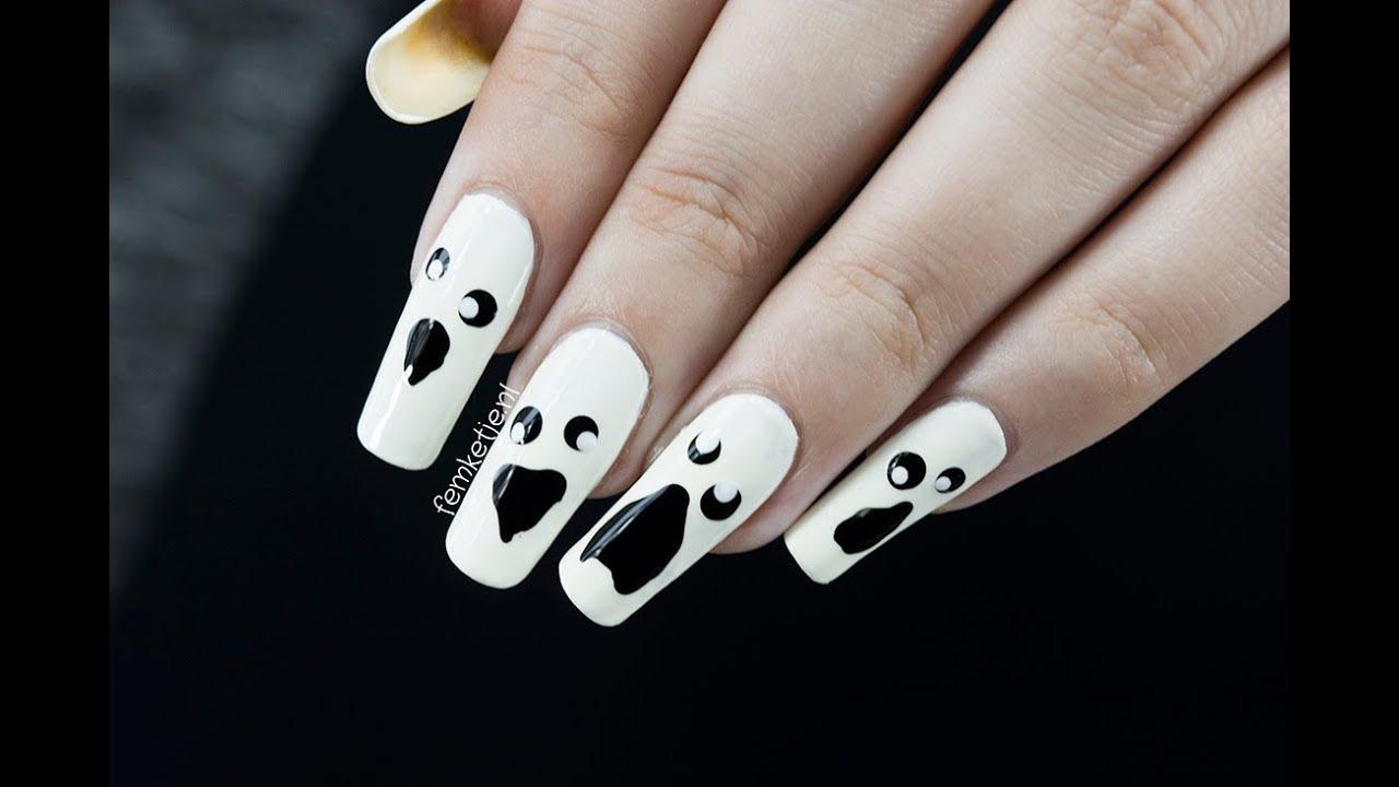 Ghost Nails (Super Easy Halloween DIY) - femketjeNL - YouTube