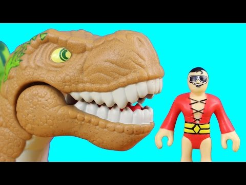 Imaginext Dinosaur Wars Episode 1 Fisher Price Dino Triceratops T-Rex Stegosaurus Plastic Man