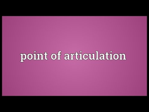 Point of articulation Meaning
