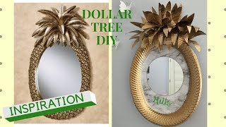 DOLLAR TREE DIY PINEAPPLE WALL MIRROR DECOR | DESIGNER INSPIRED