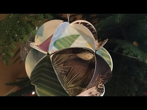 Easy DIY Recycled Christmas Card Paper Globe Ornaments Tutorial (bonus harp solo of Ground in F)